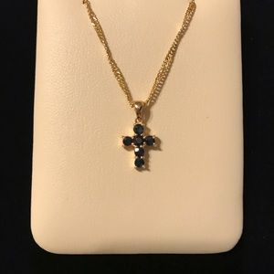 Jewelry - Genuine Natural Blue Sapphire Petite Cross Pendant